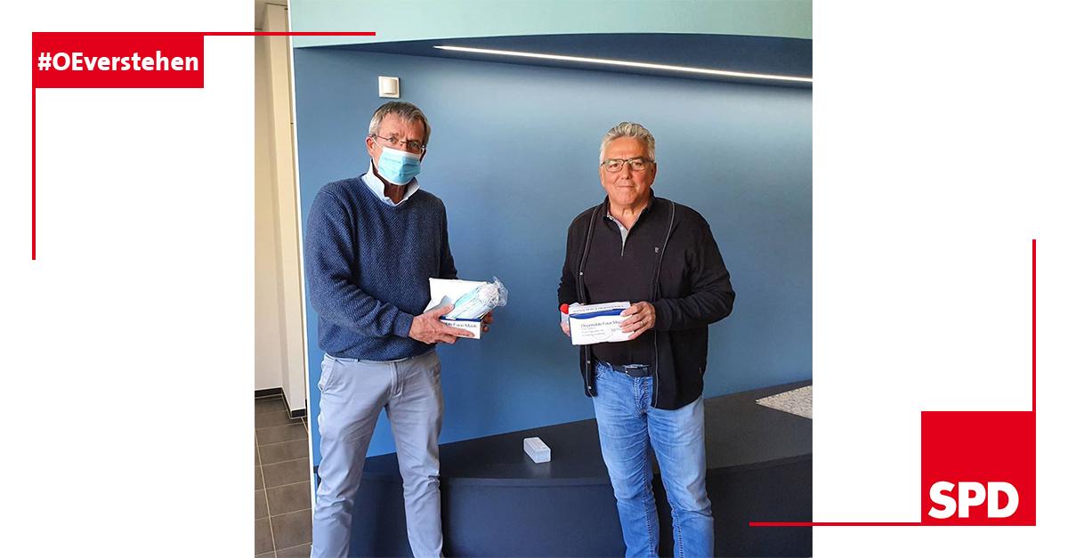 Foto der SPD zur Spende der Mund-Nasen-Abdeckung in Oer-Erkenschwick