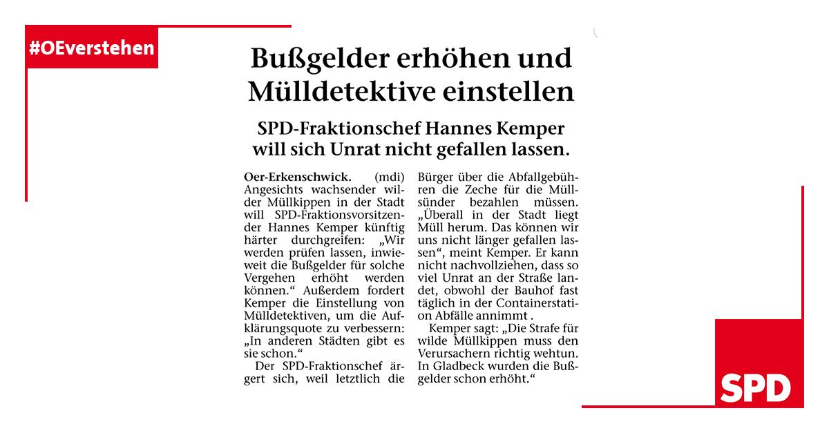 Pressedienst SPD Oer-Erkenschwick zu wilden Müllkippen
