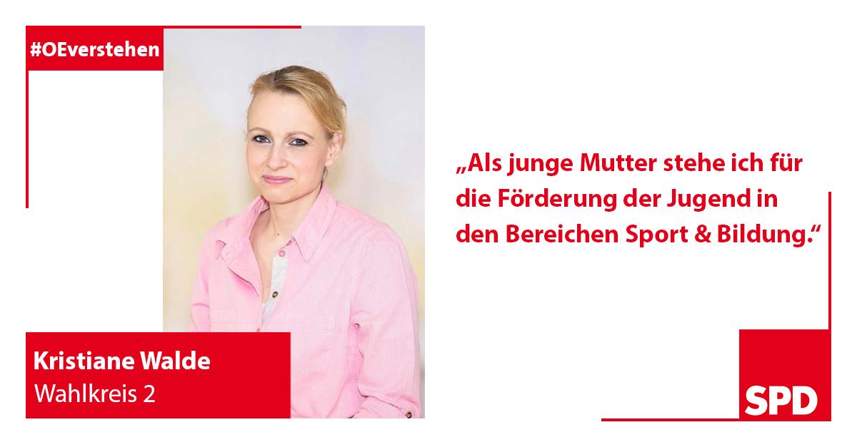Foto SPD Wahlkandidatin Kristiane Walde für Wahlkreis 2 in Oer-Erkenschwick