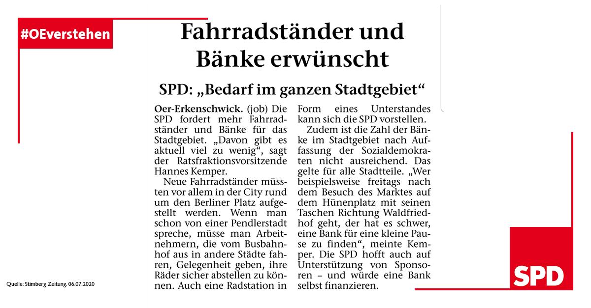 Presseartikel zum Wunsch der SPD Oer-Erkenschwick nach mehr Bänken und Fahrradständern in Oer-Erkenschwick