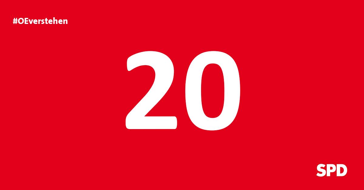 Grafik Countdown noch 20 Tage bis zur Kommunalwahl 2020 in Oer-Erkenschwick