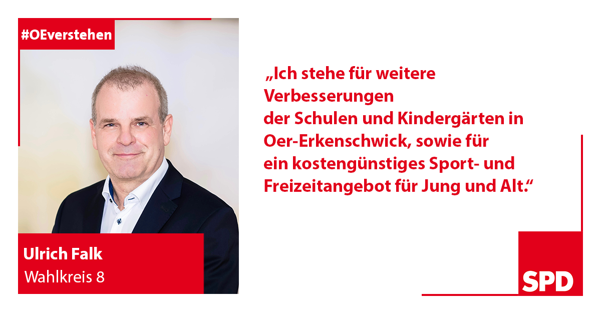 Foto SPD Wahlkandidat Ulrich Falk für Wahlkreis 8 in Oer-Erkenschwick