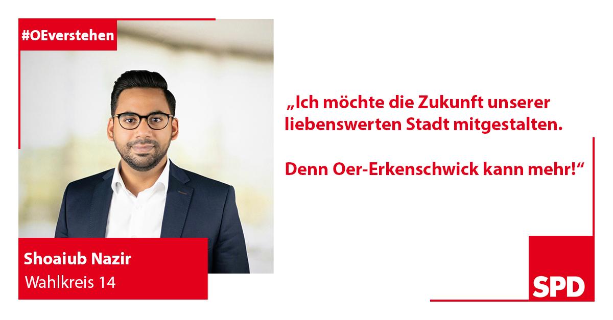 Foto SPD Wahlkandidat Shoaiub Nazir für Wahlkreis 14 in Oer-Erkenschwick