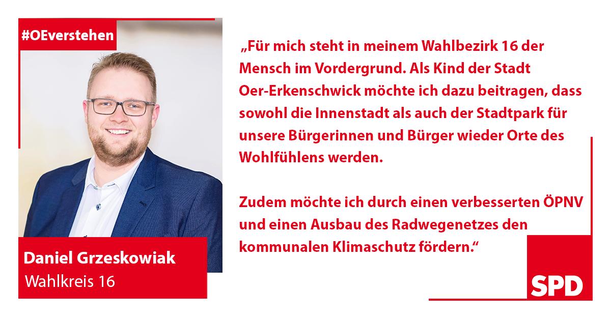 Foto SPD Wahlkandidat Daniel Grzeskowiak für Wahlkreis 16 in Oer-Erkenschwick