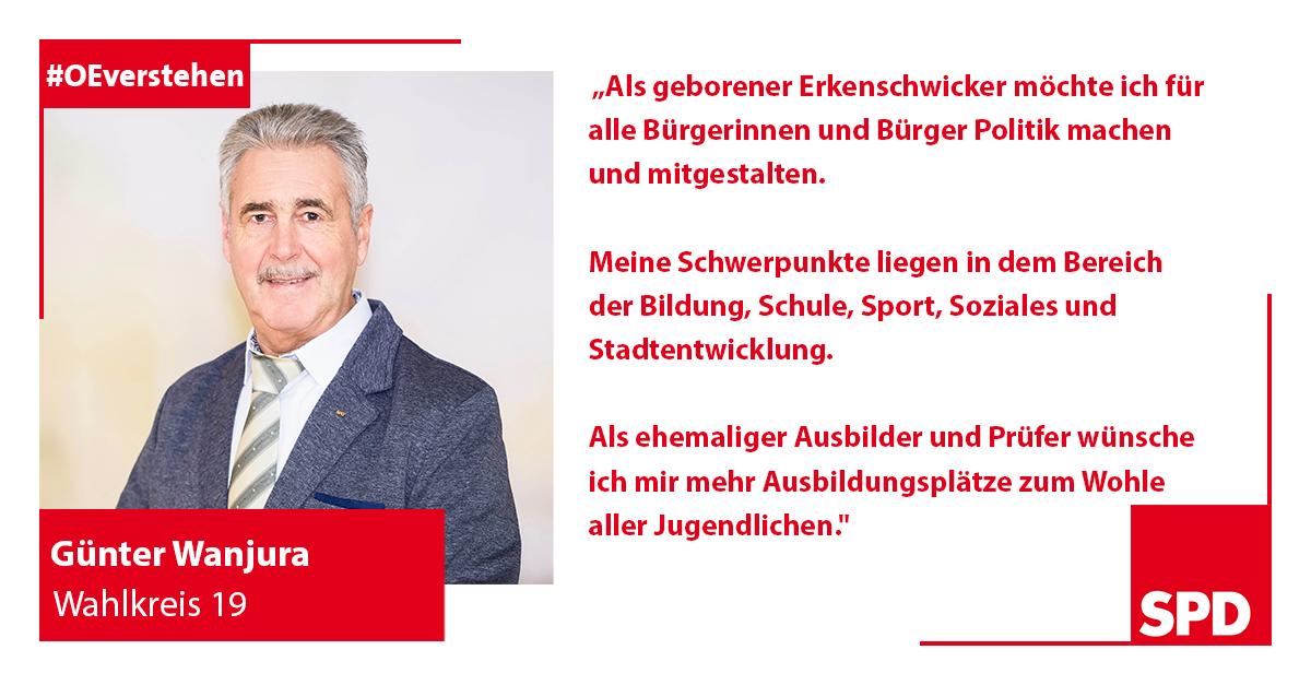 Foto SPD Wahlkandidat Günter Wanjura für Wahlkreis 19 in Oer-Erkenschwick
