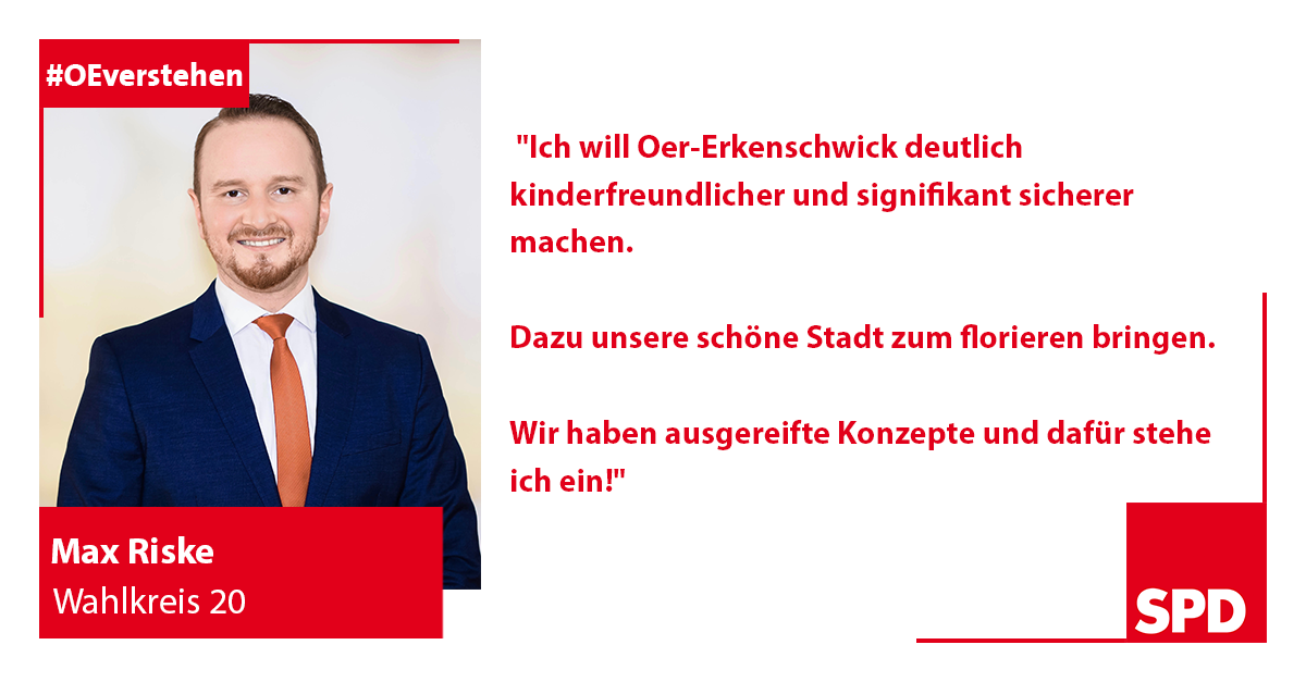Foto SPD Wahlkandidat Max Riske für Wahlkreis 20 in Oer-Erkenschwick