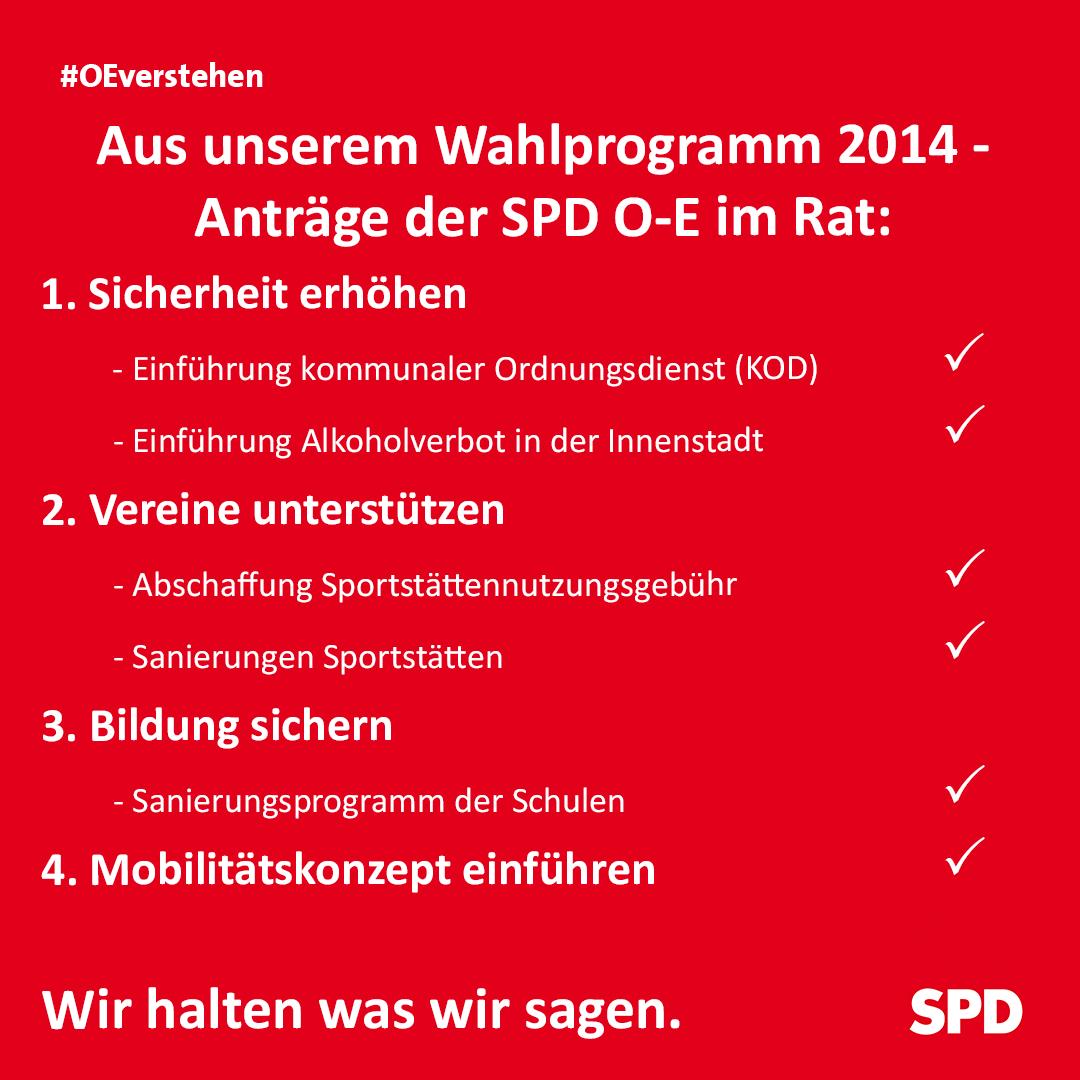 Übersicht einiger Anträge der SPD Oer-Erkenschwick im Stadtrat