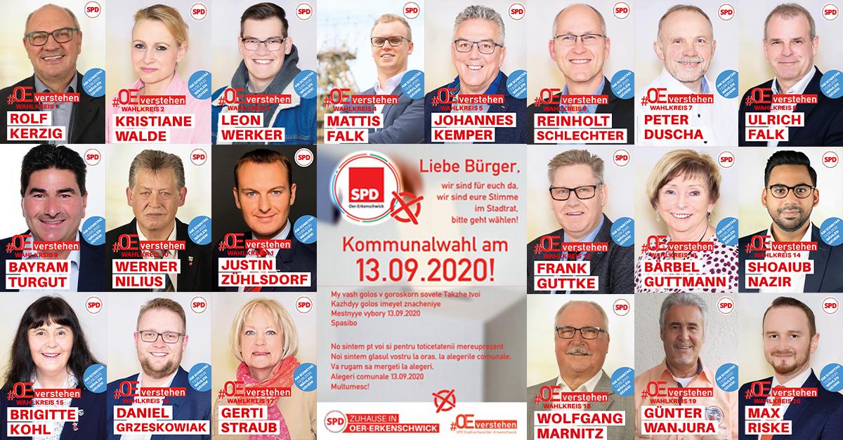 Foto aller Wahlkreiskandidaten der SPD Oer-erkenschwick auf einem Blick