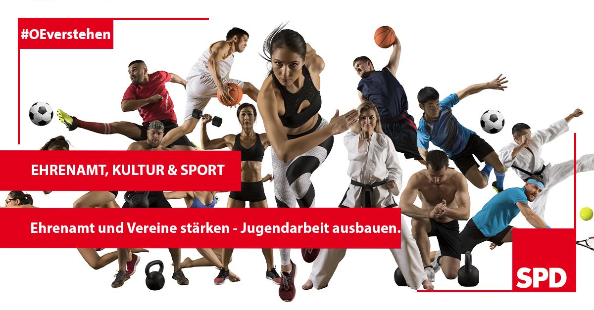 Grafik zu den guten Gründen die SPD Oer-erkenschwick bei der Kommunalwahl in Oer-Erkenschwick zu wählen, so zB. wg. der Themen Ehrenamt, Kultur und Sport